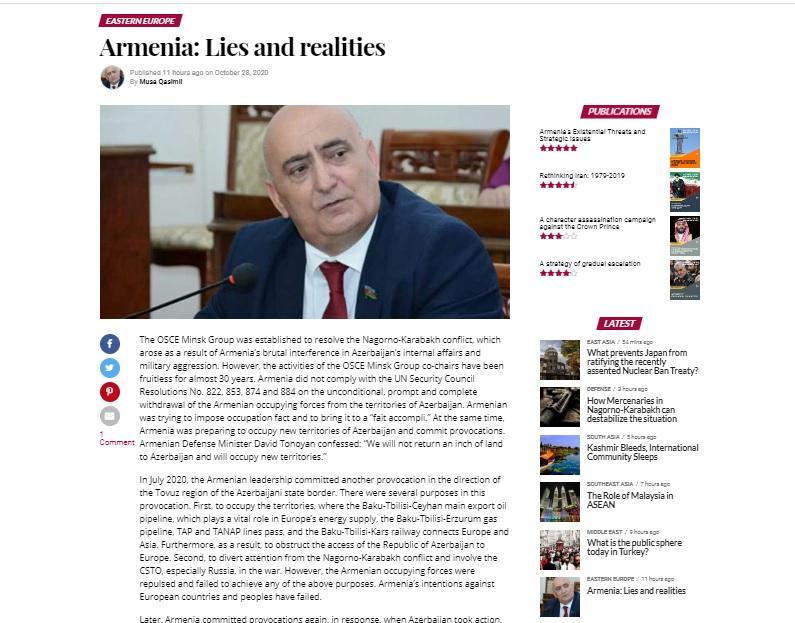 Musa Gasimli. Armenia: Lies and realities - moderndiplomacy.eu
